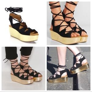 See By CHLOE Liana Lace-Up Platform Sandals 38.5